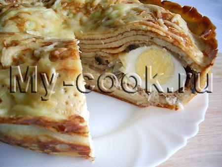 Блинчатый пирог с яйцом