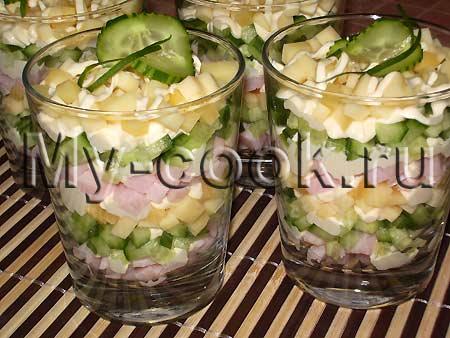 рецепт салата коктейль с ветчиной и сыром с фото