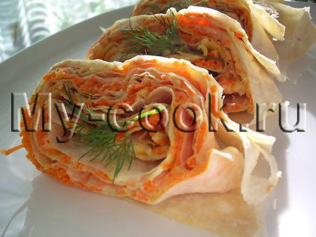 Лавашный рулет с морковной начинкой