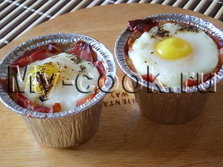 Яйца в ветчинных гнездышках