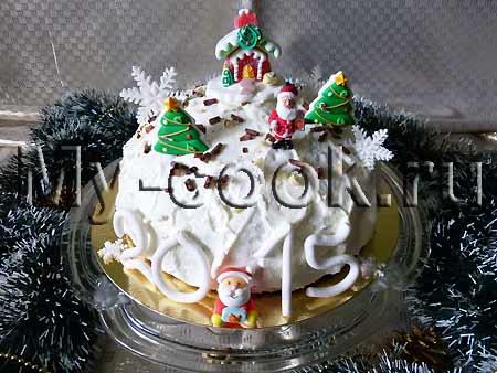 Новогодний торт с вишней