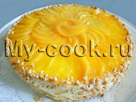 Нежный торт суфле с персиками