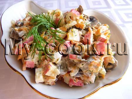 Необычный салат с грибами