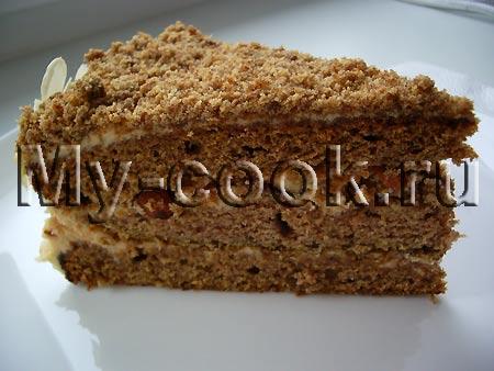 Домашний Финиковый торт с орехами