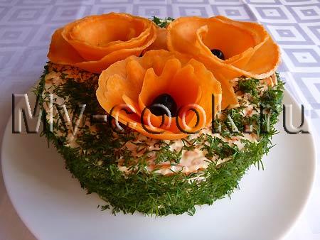 Слоёный салат с маками