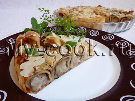 Блинный пирог с яблочной начинкой Улитка