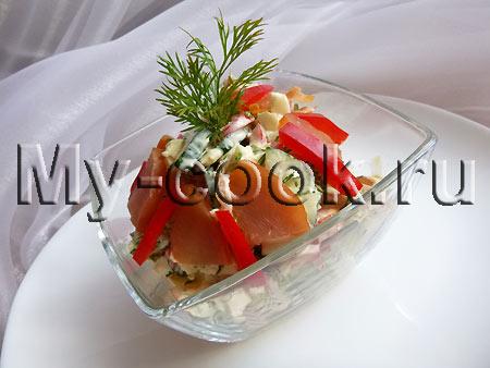Яркий салат с куриным карпачо