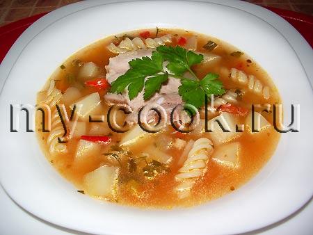 Суп с овощами и макаронными изделиями