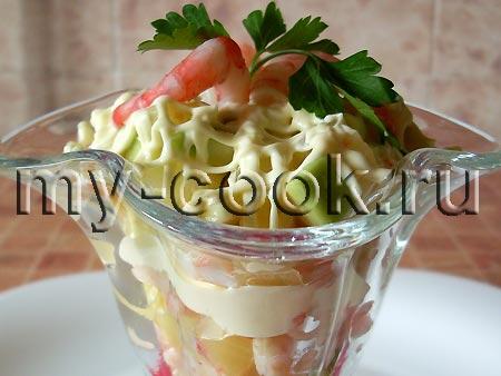 Рецепт салата коктейль с креветками