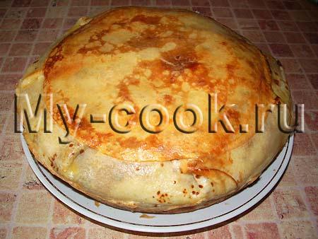 Блинчатый пирог с яблочной начинкой