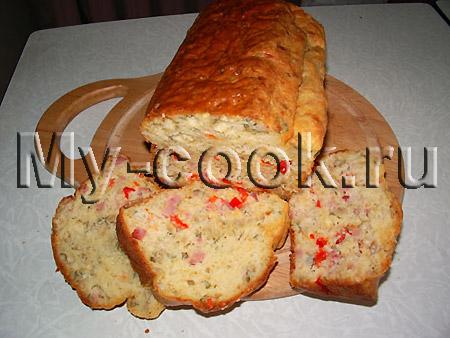 Хлеб на белом вине с ветчиной сыром и семенами подсолнуха