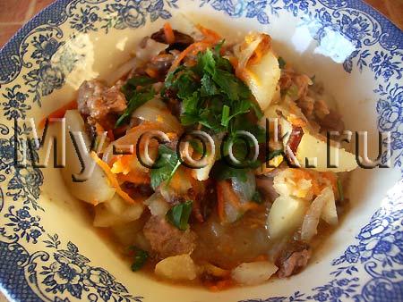 Картофель с черносливом и мясом