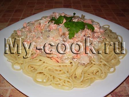 Спагетти с рыбным соусом